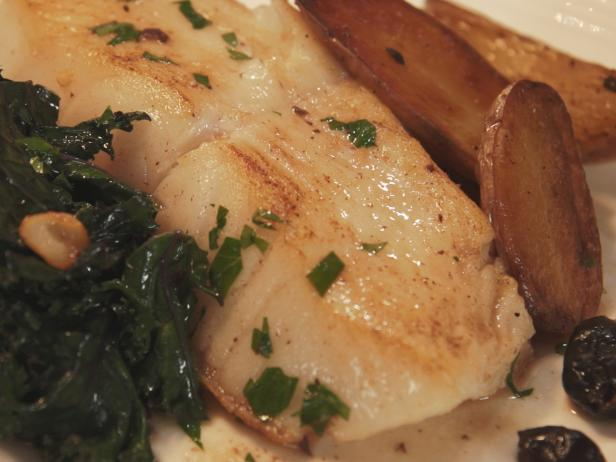 Sea Bass alla Vernaccia with Roasted Fingerling Potatoes and Braised Red Kale