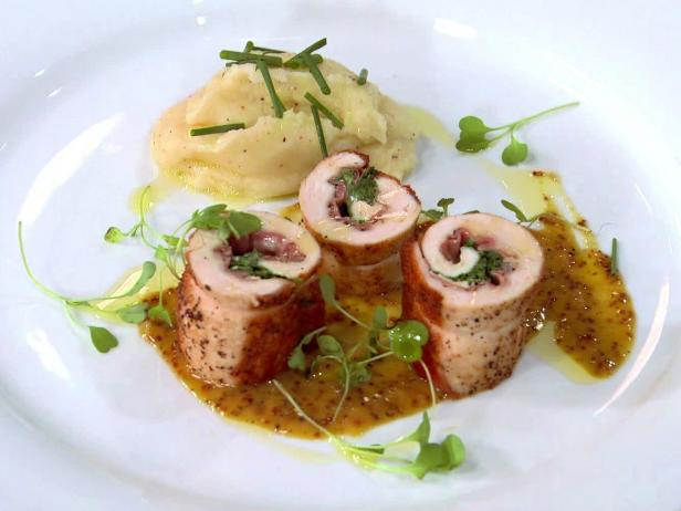 Roasted Chicken Roulade with American Triple Cream and Georgia Ham