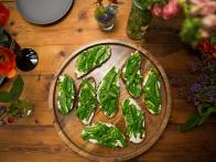Grilled Ciabatta with Ricotta and Snap Peas