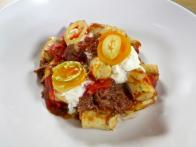 Parisian Gnocchi with Braised Short Ribs, San Marzano Tomatoes, Smoked Ricotta and Pickled Peperonata