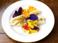 White Asparagus with Gribiche Sauce and Edible Flowers