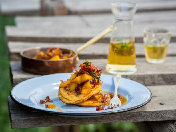 Teacup Pancakes with Quick Nectarine Jam and Sticky Maple Bacon