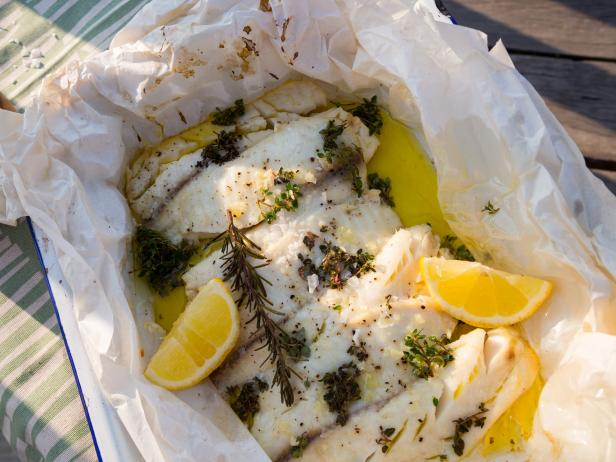 Fresh Farm Fish with Lemon Butter Sauce en Papillote