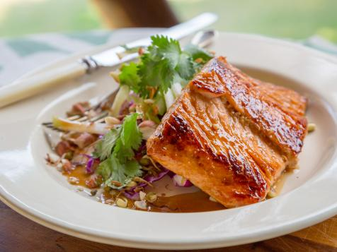Grilled Fish with Rainbow Salad and Asian Dressing