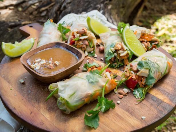 Peanut Sesame Chicken Rice Paper Rolls Recipe Sarah Graham Cooking Channel