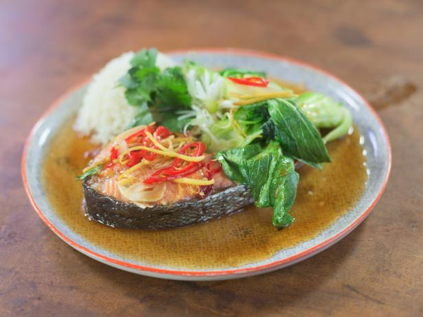 Vietnamese Caramel Salmon with Sticky Rice