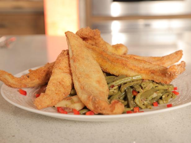 Nashville Fried Catfish with Southern-Style Green Beans with Bacon and New Potatoes